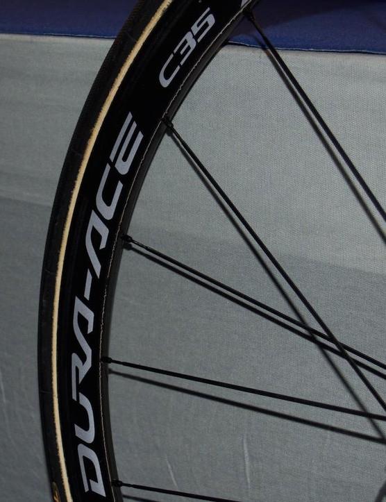 Richie Porte rolls on Dura-Ace C35 wheels