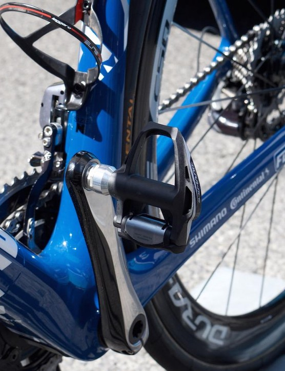 Shimano Dura-Ace pedals and Elite bottle cages on the FDJ bikes