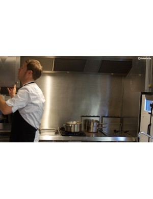 Henrik Orre prepares breakfast in the kitchen