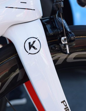 A logo design featuring the letter K sits on either shoulder of the Pinarello Dogma forks