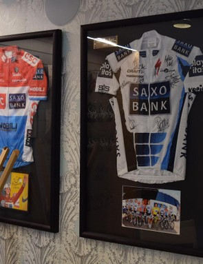 One of two national road race champion jerseys and one of three Tour de France white jerseys
