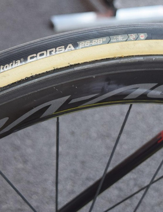 The bike also has the usual pairing of Shimano Dura-Ace R9100 wheels and Vittoria Corsa tubular tyres