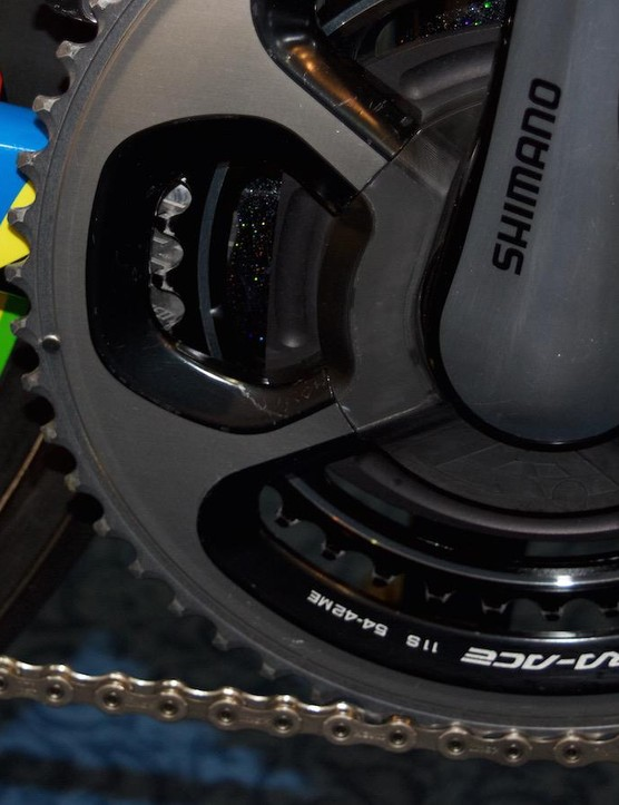 The bike is equipped with an SRM power meter