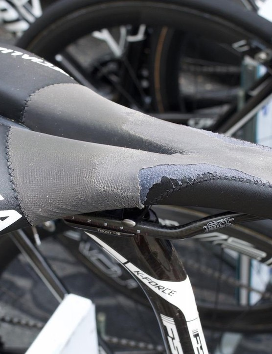 Tony Martin is known for customizing his saddles to increase the grip