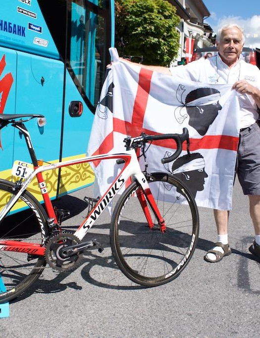 The Four Moors flag and the Four Moors bike