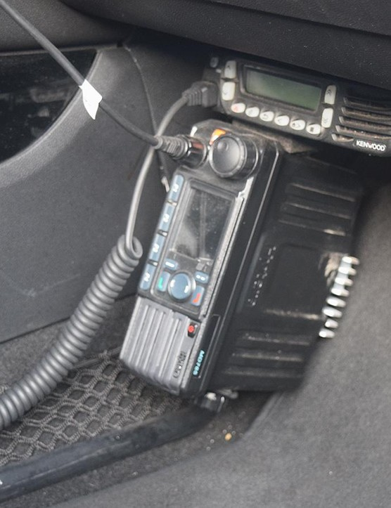 The car is equipped with two-way radios for the team and the race radio