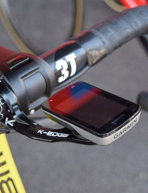 Van Avermaet runs a K-Edge out-front computer mount for his Garmin Edge 820 computer