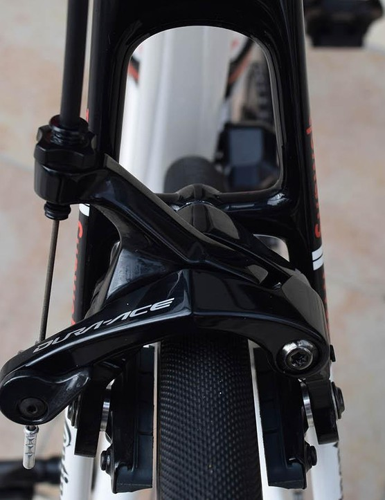 Unlike other high-end carbon race bikes, Cervelo has stuck with single bolt rim brakes rather than direct mount options