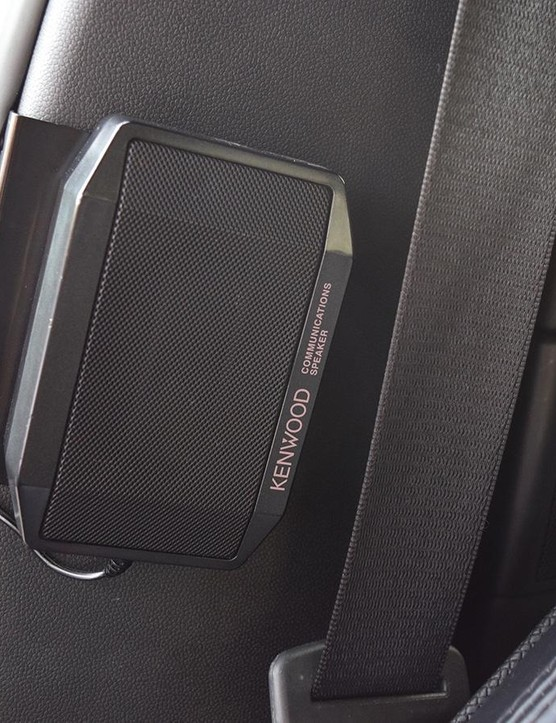 Kenwood speakers provide audio for the race radio