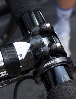 Visible signs of wear and tear on the stem, and a K-Edge outfront mount for the German's computer
