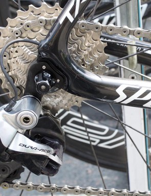 The German uses Shimano Dura-Ace Di2 and runs an 11-28 rear cassette