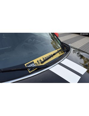 Windscreen wipers can cause havoc with the race convoy identification stickers, sticking them low can keep them out of the wind and avoid peeling off mid-race