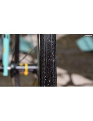 A close look at the outer tread pattern on LottoNL-Jumbo's Vittoria tubular tyres