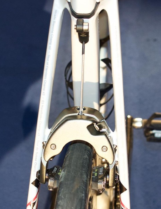 The Madone features centre-pull, direct-mount brakes