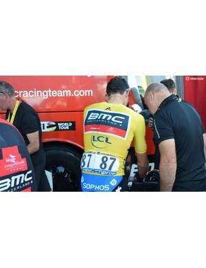 Greg Van Avermaet was an early wearer of the yellow jersey in the race