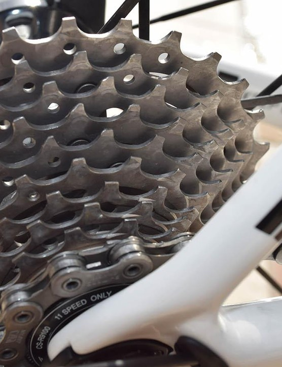 While some WorldTour teams opt for Shimano Ultegra cassettes, Team Sunweb sticks with the range-topping Shimano Dura-Ace