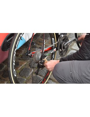 Each Lotto-Soudal chain was generously lubricated ahead of the race start