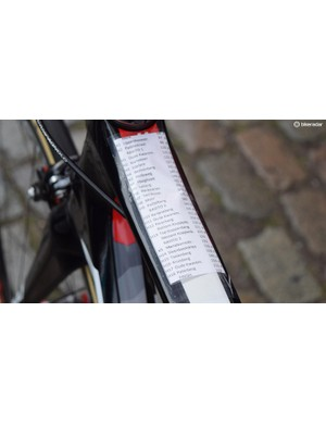 One of the top tube course notes for a Lotto-Soudal rider