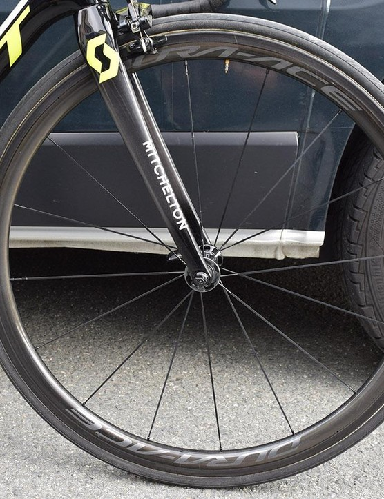 A look at the front wheel and low-profile forks of Yates' bike