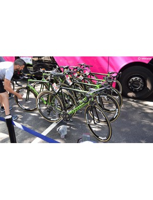 EF Education First-Drapac has used Cannondale SystemSix, SuperSix (photographed here) and Synapse framesets during the French Grand Tour