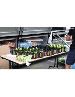 Mitchelton-Scott prepares bidons for a short training ride, giving an insight into how many are needed each day throughout the race