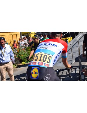 Quick-Step Floors was the early leader on the team classification and so wore yellow race numbers for some of the earlier stages of the race