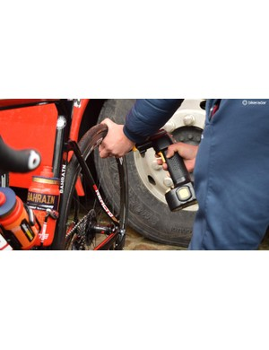 Bahrain-Merida were another team to use electronic tyre pumps