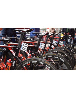 All of the Bahrain-Merida team used Merida Reactos except for Vincenzo Nibali, who opted to race on a Merida Scultura