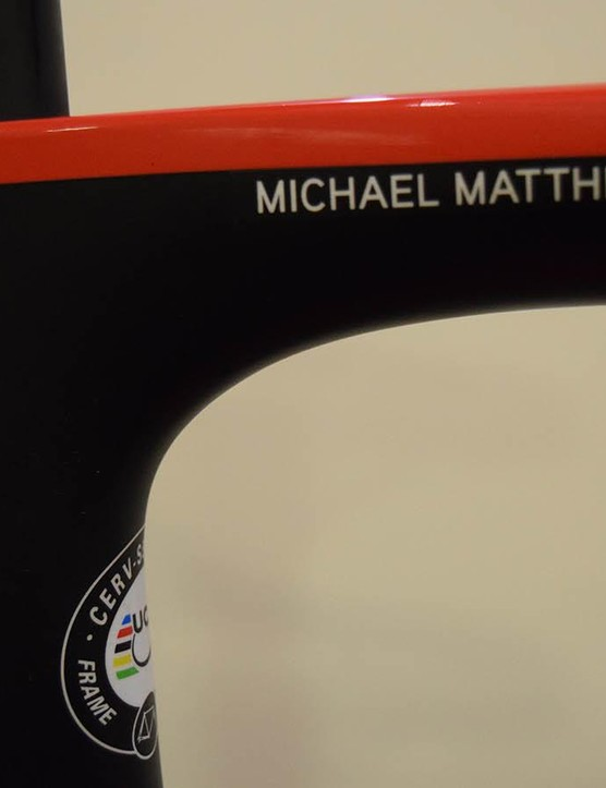 All of the Team Sunweb Cervelo framesets feature rider name decals on the top tube
