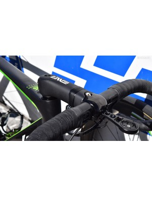 The faceplate on the race bike's stem had a glossy black finish