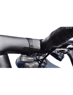 Disappointingly, a Di2 junction box mount has not been integrated into the stem and so a thickband of rubber is used to fix it in place
