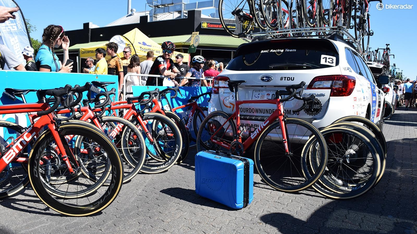BMC Racing prepare their team bikes ahead of the race