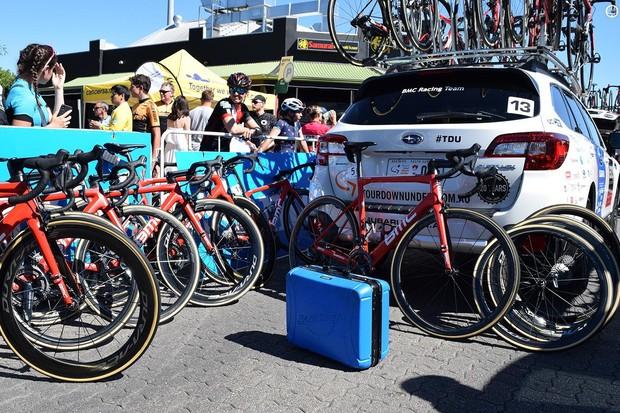 BMC Racing prepare their team bikes ahead of the race