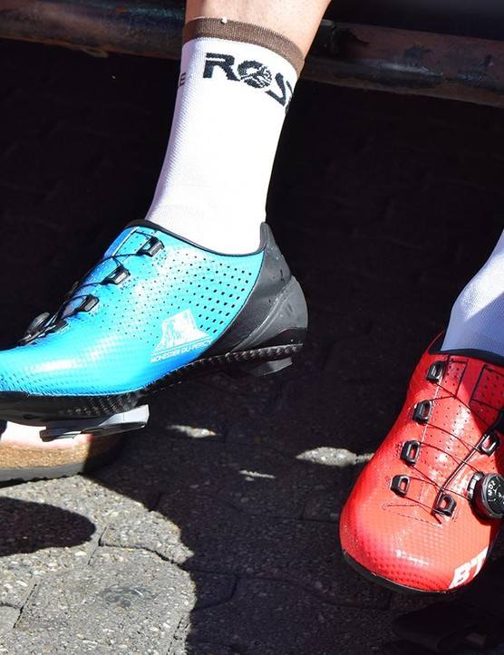 B'Twin shoes performing in the WorldTour peloton