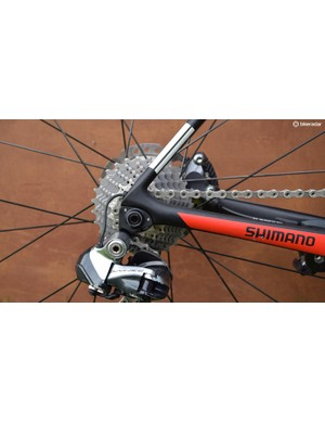The development team bikes are still equipped with Dura-Ace chains and cassettes