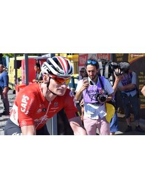 Andre Greipel arrives to sign-on