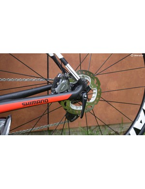 The bike is equipped with 160mm rotors at the front and 140mm rotors at the rear of the bike
