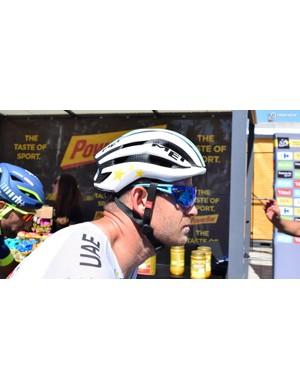 Alexander Kristoff has a MET Trenta 3K Carbon helmet with custom colours as the European road race champion