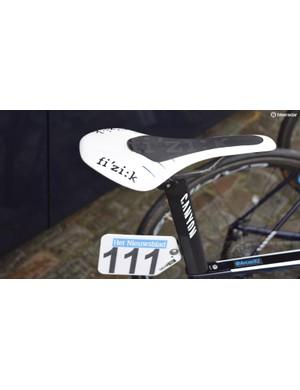 Jorge Arcas (Movistar) customises his Fizik saddle to reduce any movement on the saddle