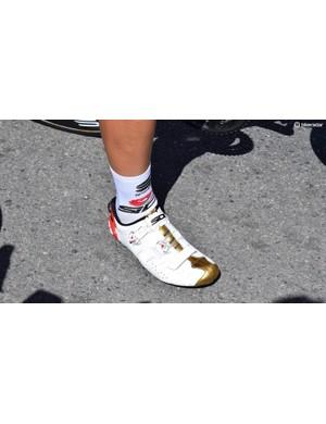 Bahrain-Merida riders each wear team-issue Sidi shoes