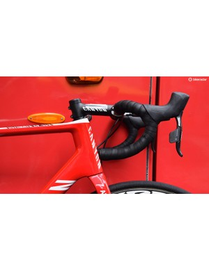 Hydraulic disc brakes result in visibly larger hoods on the usually svelte eTap levers