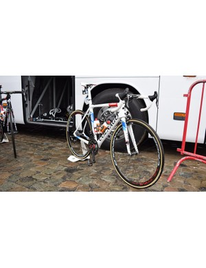 Alexander Kristoff's (UAE Team Emirates) Colnago V2-R in European champion colours for the 2018 Tour of Flanders
