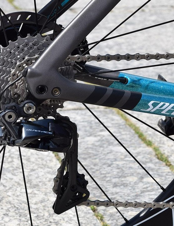 The thru-axle, rear derailleur hanger and Di2 cable have all been caredully considered in the design