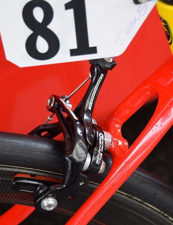 A close look at the Campagnolo Super Record rear brake