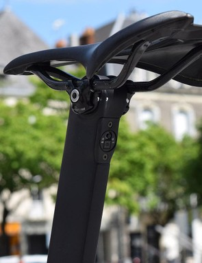 The Di2 charging and adjustment port is located in the seat post on the new Venge