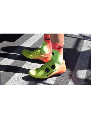 Bora-Hansgrohe wore the new S-Works 7 shoe in a bright fluoro colour throughout the race