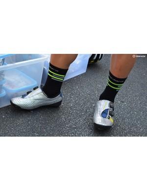 Caleb Ewan wears customised Bont Vaypor S shoes