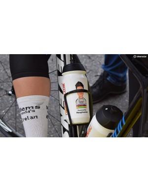 Wout Van Aert has customised bidons commemorating his cyclocross world championship title