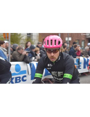 Mitch Docker of EF Education First-Drapac shows off the new POC Ventral aero helmet