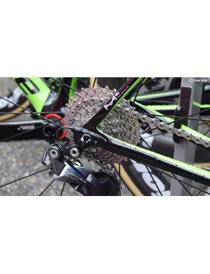 During stage 2 of the Criterium du Dauphine, Rolland ran an 11-30 Shimano Ultegra cassette